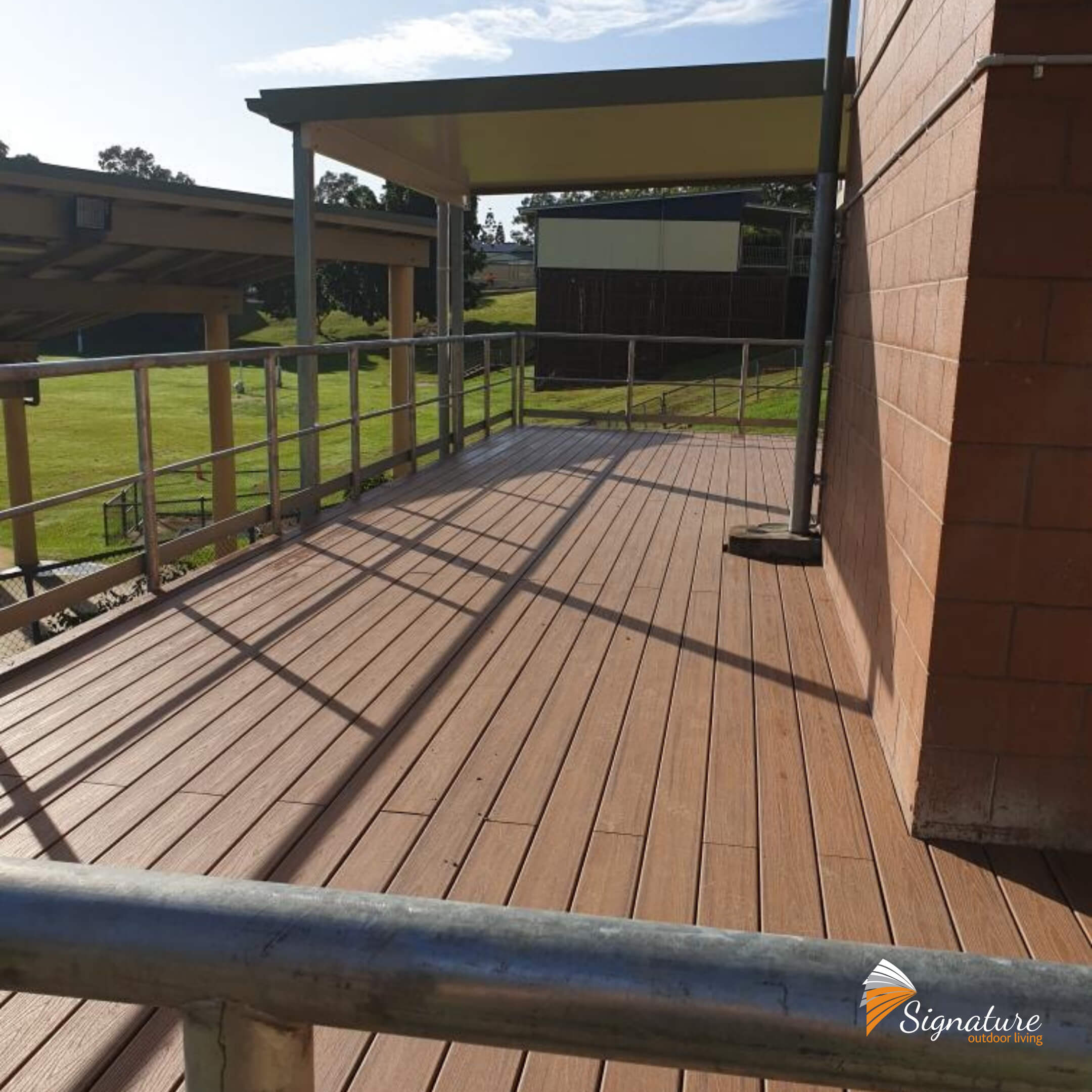 custom built large decking for state school